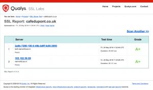 Screendump findings SSL Labs on the website of Cafe de Pont.
