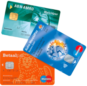 Photo of debit cards ABN AMRO, Rabobank and ING. Photo: Gebruiker Centraal.